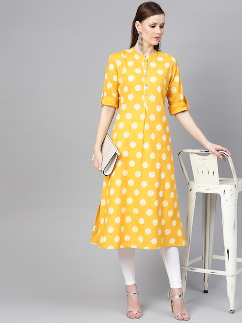 Varanga Women Yellow & White Khari Print Straight Kurta