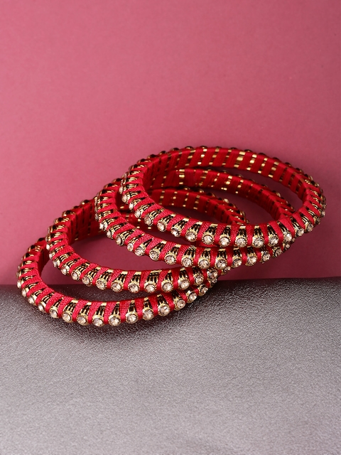 Priyaasi Women Set Of 4 Red Gold-Plated Stone-Studded Handcrafted Bangles