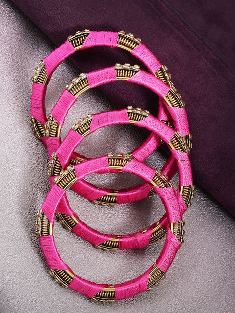 Priyaasi Set of 4 Pink Gold-Plated Stone-Studded Handcrafted Bangles