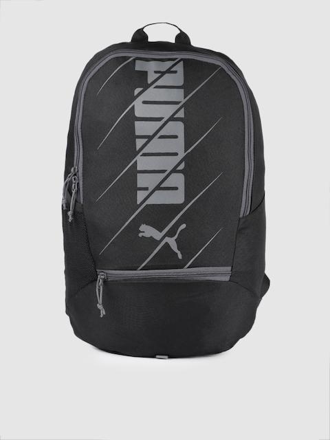 Puma Unisex Black Brand Logo Backpack