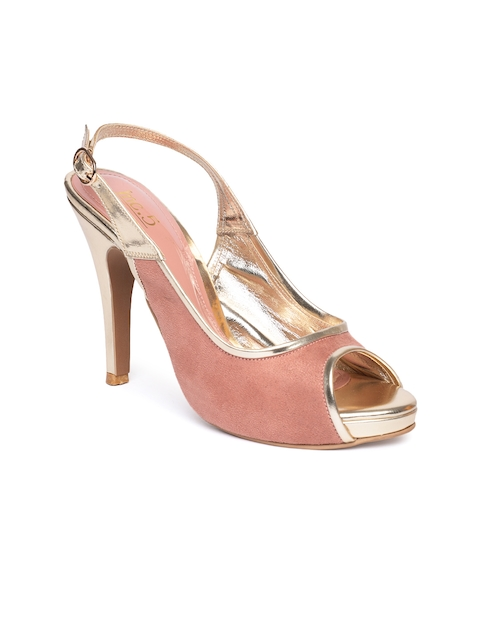 Inc 5 Women Pink & Gold-Toned Solid Peep Toes