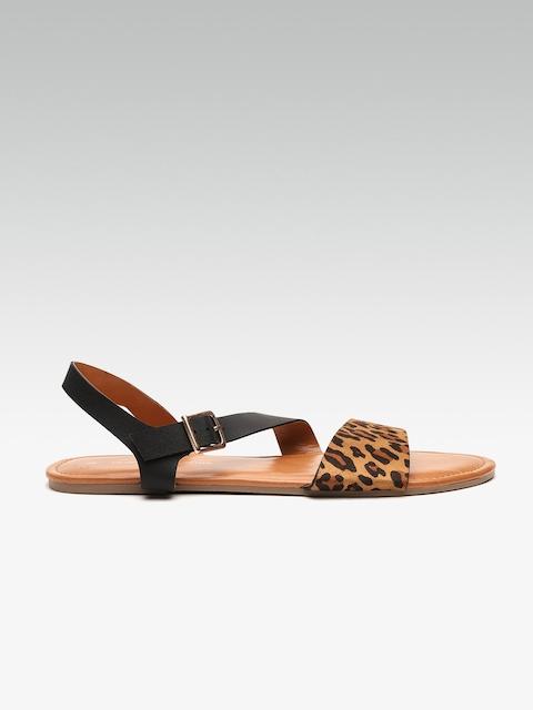 DOROTHY PERKINS Women Brown & Black Leopard Print Open Toe Flats