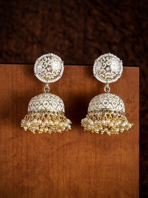 Zaveri Pearls Gold-Toned & Off-White Dome Shaped Jhumkas