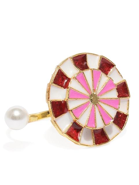 Zaveri Pearls Gold-Plated & Red Enamelled Adjustable Finger Ring