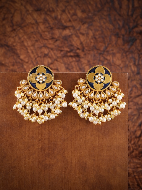 Zaveri Pearls Gold-Toned & Navy Blue Enamelled Circular Chandbalis