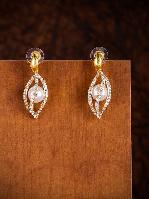 Zaveri Pearls Gold-Toned Austrian Diamonds Studded Drop Earrings