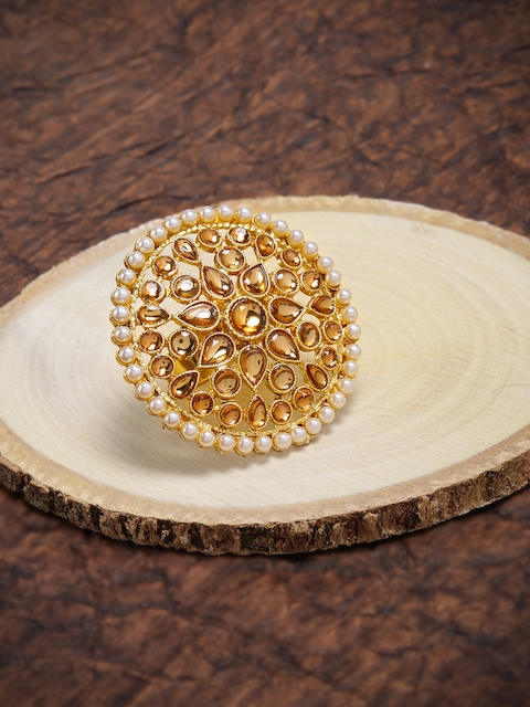 Zaveri Pearls Gold Toned Stone Studded Adjustable Finger Ring