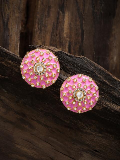 Zaveri Pearls Pink & Gold-Toned Circular Oversized Studs