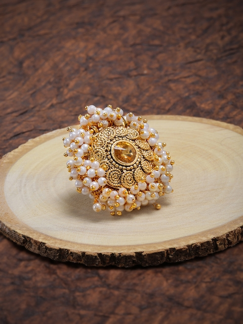 Zaveri Pearls Set of 2 Gold-Toned Pearls Finger Ring