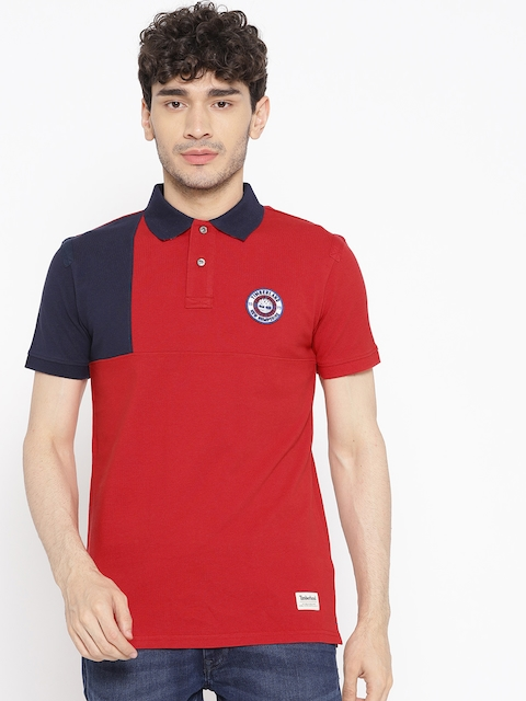 Timberland Men Red & Navy Blue Colourblocked Millers River Badge T-shirt