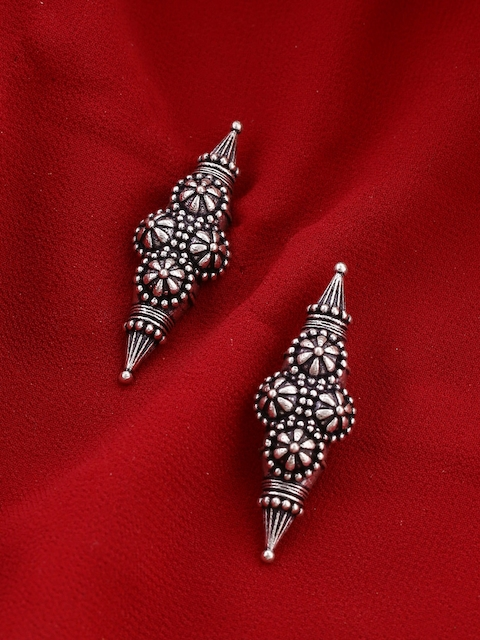 Voylla Silver-Toned Silver-Plated Contemporary Studs
