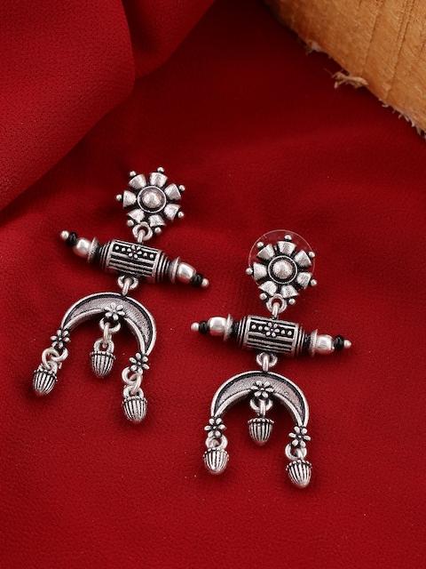 Voylla Silver-Toned Classic Drop Earrings