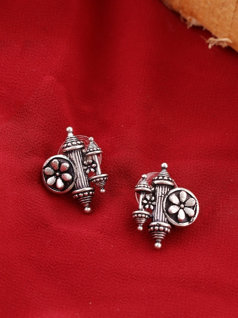 Voylla Silver-Plated Contemporary Oxidised Studs