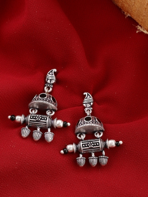 Voylla Oxidised Silver-Plated Contemporary Drop Earrings