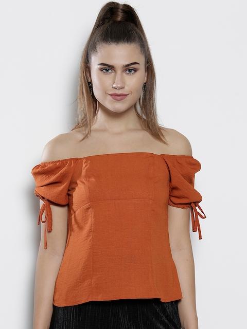 DOROTHY PERKINS Women Rust Orange Solid Bardot Top