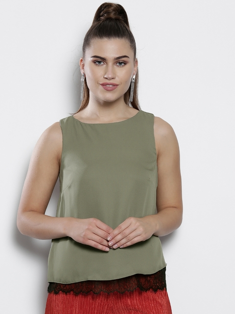DOROTHY PERKINS Women Olive Green Solid Layered Top