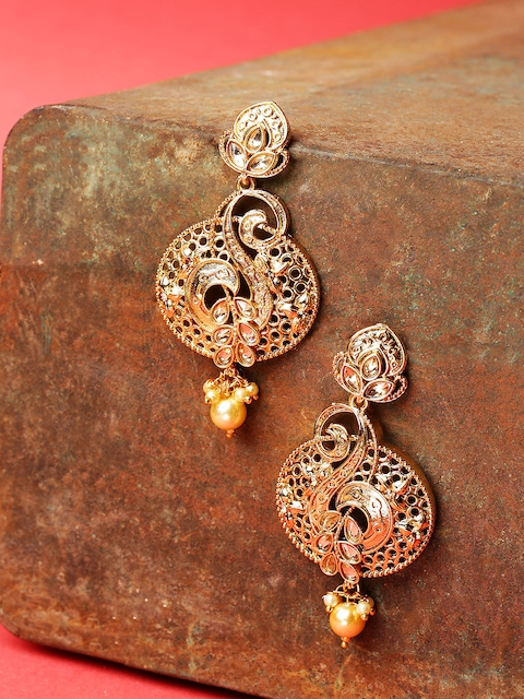 Jewels Galaxy Gold-Plated Stone-Studded & Beaded Classic Drop Earrings