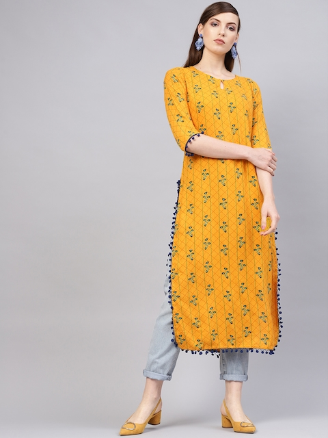 Libas Women Mustard Yellow & Green Printed Straight Kurta
