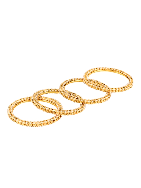 Adwitiya Collection Set of 4 24KT Gold-Plated Stone-Studded Bangles