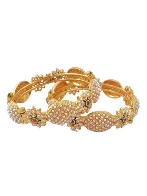 Adwitiya Collection Set of 2 24KT Gold-Plated Stone-Studded Bangles