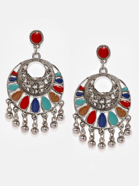 Anouk Silver-Toned & Red Circular Drop Earrings