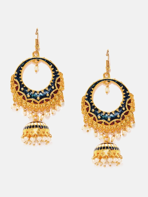 Anouk Gold-Toned & Blue Dome Shaped Drop Earrings