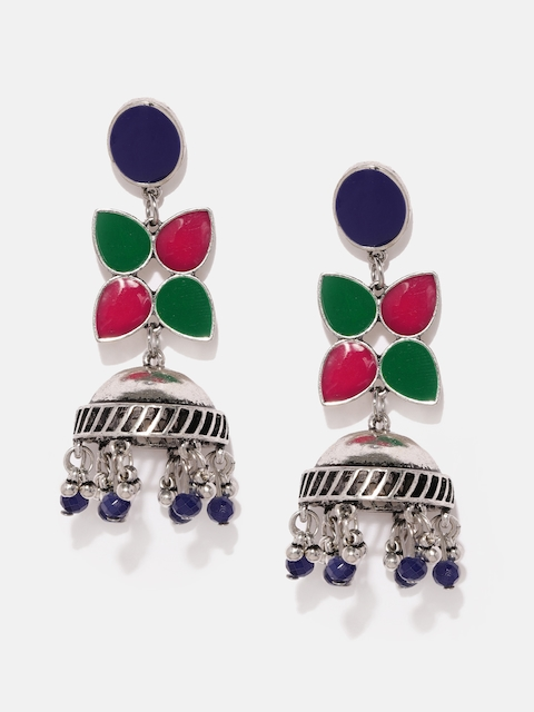 Anouk Silver-Toned & Blue Dome Shaped Jhumkas