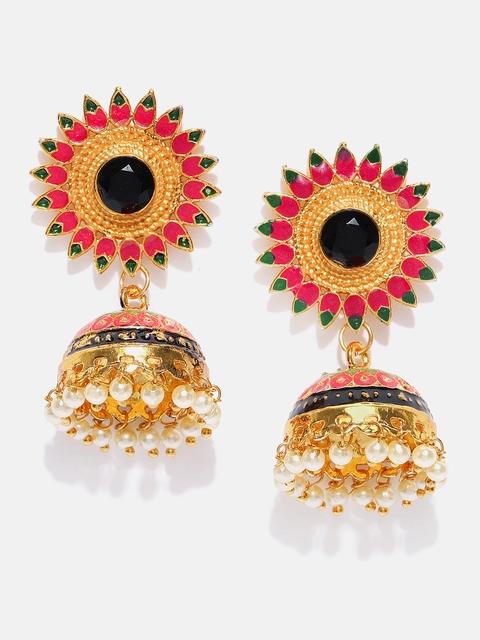 Anouk Pink & Black Gold-Plated Meenakari Dome Shaped Jhumkas