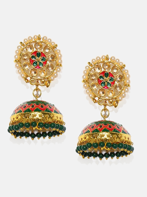 Anouk Gold-Toned & Green Dome Shaped Jhumkas