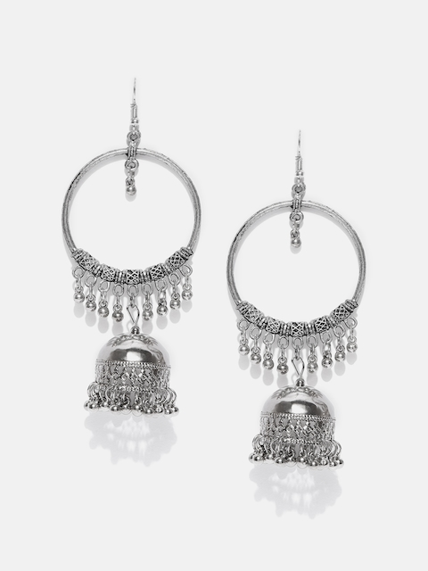 Anouk Oxidized Silver-plated Handcrafted Dome Shaped Jhumkas