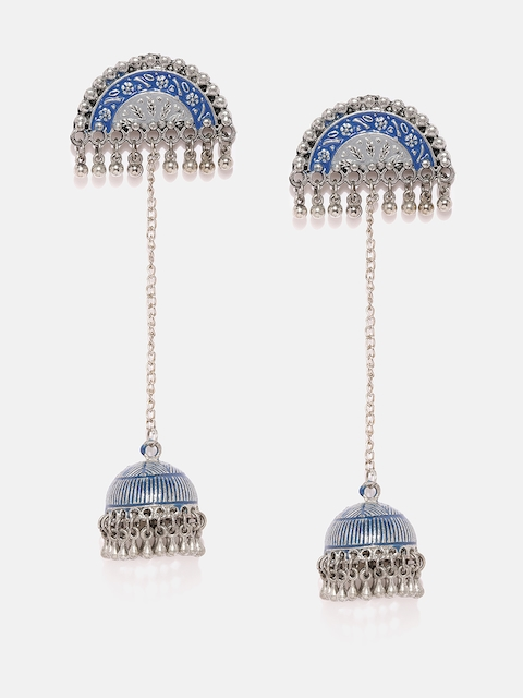 Anouk Blue & Silver-Toned Dome Shaped Jhumkas