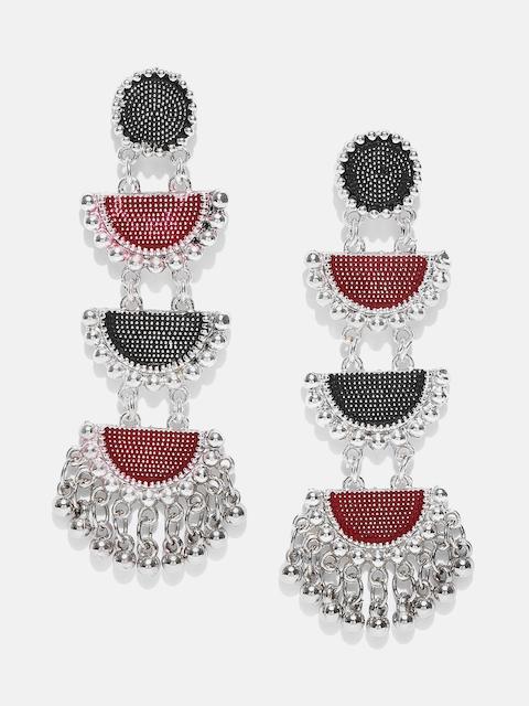 Anouk Maroon & Black Silver-Plated Meenakari Geometric Drop Earrings