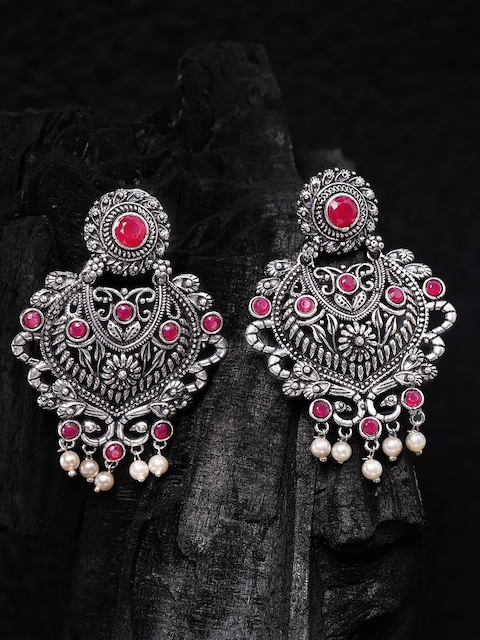 Rubans Silver-Toned & Red Hand Crafted Contemporary Drop Earrings