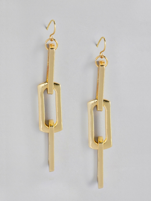 justpeachy Gold-Toned Quirky Drop Earrings