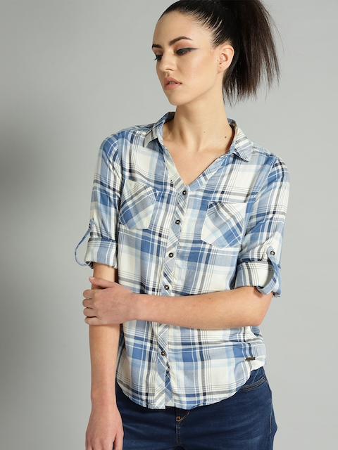 Roadster Women Blue & Off-White Regular Fit Checked Casual Shirt