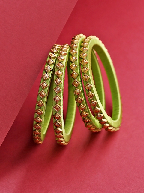 Priyaasi Set of 4 Green Gold-Plated Stone-Studded Thread Handcrafted Bangles