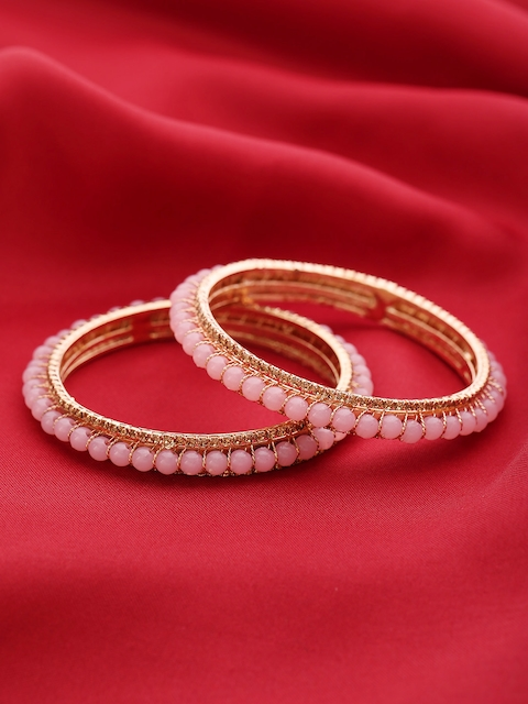 Priyaasi Set of 2 Pink Gold-Plated Stone-Studded Beaded Handcrafted Bangles