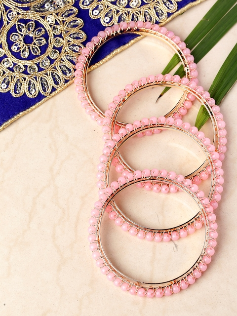 Priyaasi Set of 4 Pink Gold-Plated Beaded Handcrafted Bangles