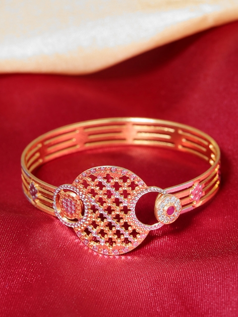 Priyaasi Silver-Toned Gold-Plated Textured Handcrafted Bangle-Style Bracelet