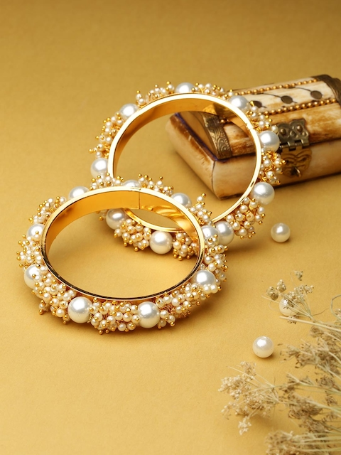 Priyaasi Set Of 2 Gold Plated Off-White Beaded Handcrafted Bangles