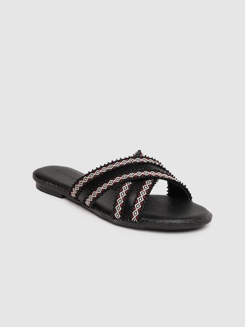 Allen Solly Women Black Solid Open Toe Flats