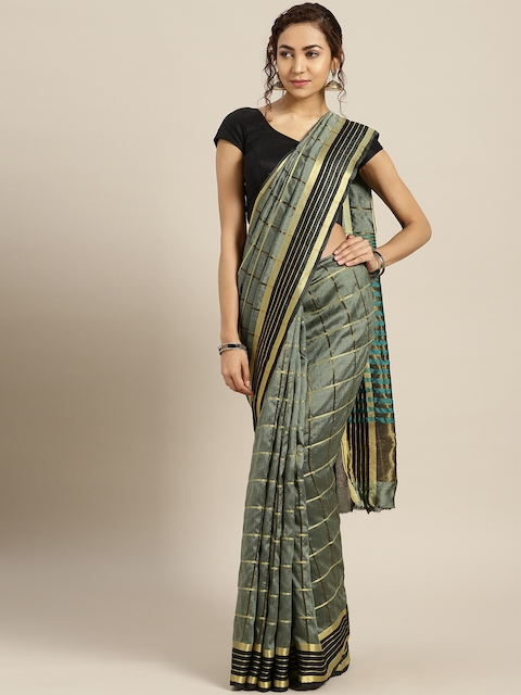 Rajesh Silk Mills Green & Golden Checked Saree