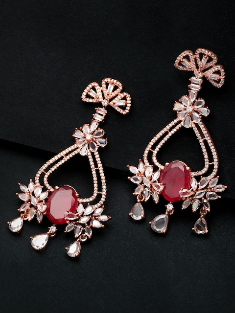 Rubans Rose Gold & Red Embelished Handcrafted Classic Drop Earrings