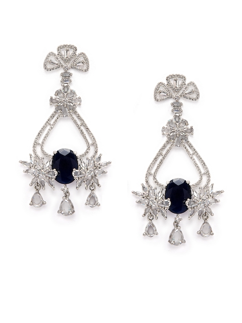 Rubans Silver-Toned & Blue Polki Stone Studded Leaf Shaped Drop Earrings