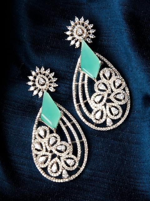 Rubans Silver-Toned & Green Teardrop Shaped Handcrafted Drop Earrings