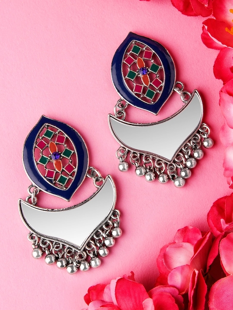 Rubans Silver-Plated & Blue Handcrafted Enamel Pearl Contemporary Drop Earrings