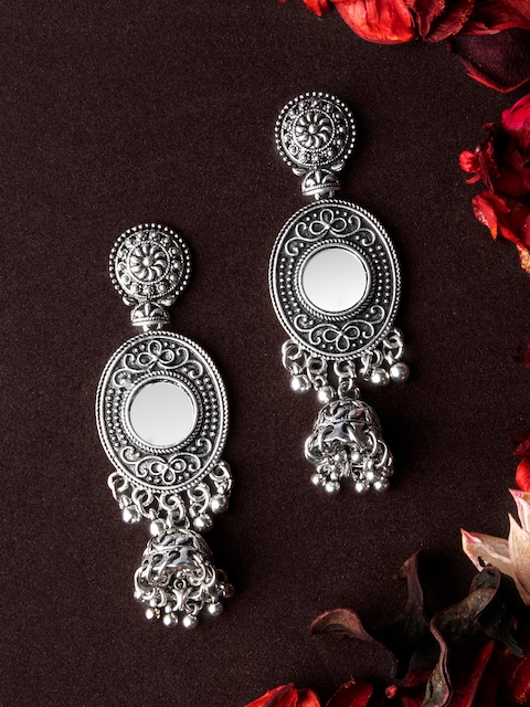 Rubans Silver-Toned & Handcrafted Classic Jhumkas