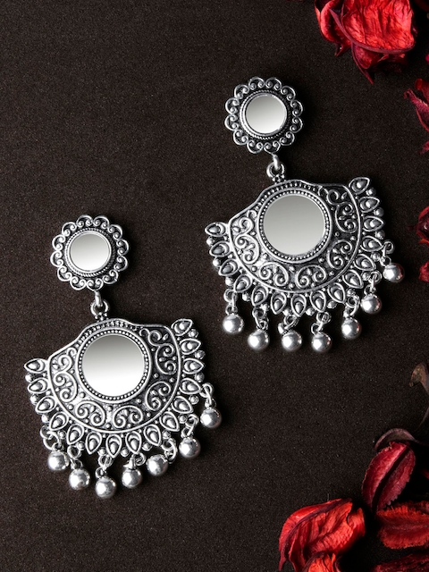 Rubans Silver-Toned Handcrafted Classic Drop Earrings