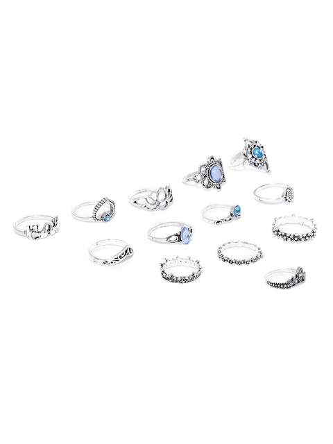 Jewels Galaxy Women Set of 13 Silver-Plated Oxidized Finger Rings