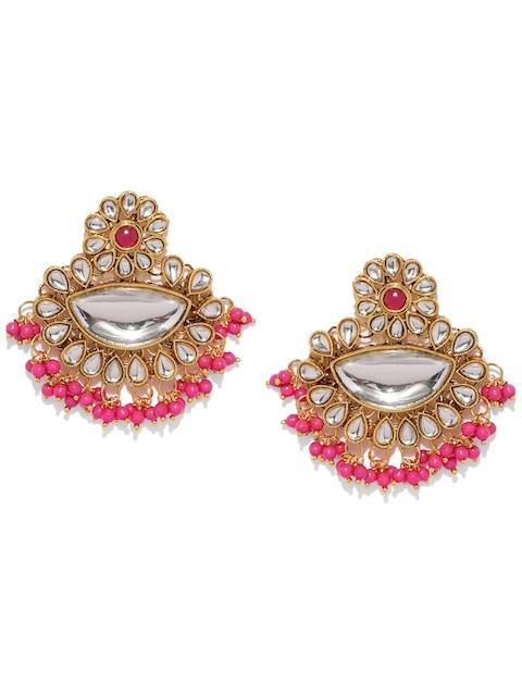 Sukkhi Pink Gold-Plated Kundan Studded Contemporary Chandbalis